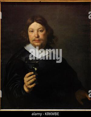 Bartholomeus van der Helst (1612-1670). Dutch painter. Man Holding a Glass of Wine, mid-1600s. National Gallery. - Stock Photo
