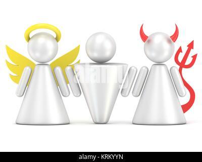 Temptation concept. Man, angel and devil figures. 3D - Stock Photo