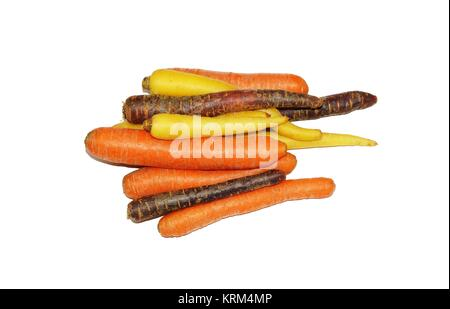 several carrots on white background - Stock Photo