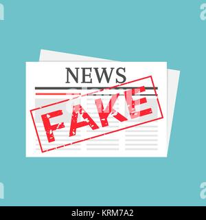 Hoax marked newspaper. Fake news stamped illustration - Stock Photo