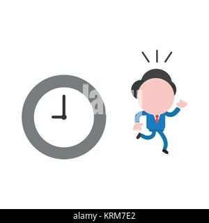 Vector cartoon illustration concept of faceless businessman mascot character running away from grey and white clock - Stock Photo
