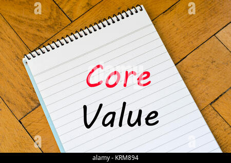 Core value text concept on notebook - Stock Photo
