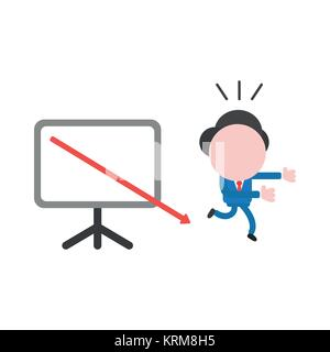 Vector cartoon illustration concept of faceless businessman mascot character running away from red arrow moving - Stock Photo