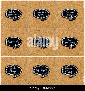 Photo collage of various words written on black thinking bubble - Stock Photo