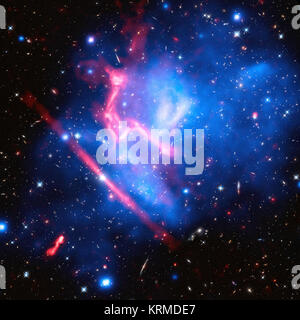 These two galaxy clusters are part of the 'Frontier Fields' project, which uses some of the world's most powerful - Stock Photo