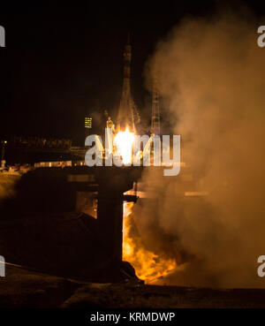 The Soyuz TMA-20M rocket launches from the Baikonur Cosmodrome in Kazakhstan on Saturday, March 19, 2016 carrying - Stock Photo