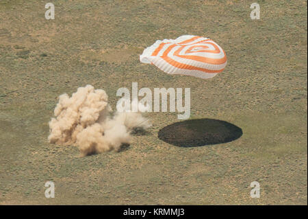 The Soyuz TMA-19M spacecraft is seen as it lands with Expedition 47 crew members Tim Kopra of NASA, Tim Peake of - Stock Photo