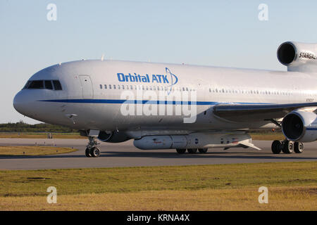 The Orbital ATK L-1011 Stargazer aircraft has arrived at the Skid Strip at Cape Canaveral Air Force Station in Florida. - Stock Photo