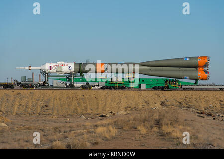 The Soyuz MS-04 spacecraft is rolled out to the launch pad by train on Monday, April 17, 2017 at the Baikonur Cosmodrome - Stock Photo