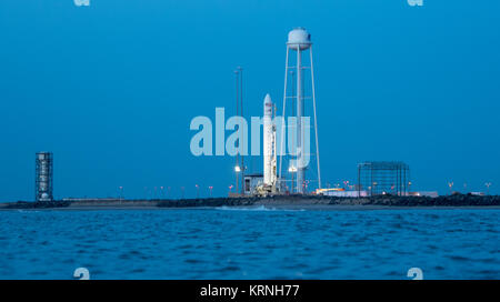The Orbital ATK Antares rocket, with the Cygnus spacecraft onboard, is seen on launch Pad-0A, Friday, Nov. 10, 2017 - Stock Photo