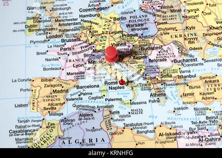 push pins on norther eastern africa map - Stock Photo
