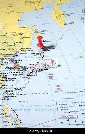 push pins on world map - Stock Photo