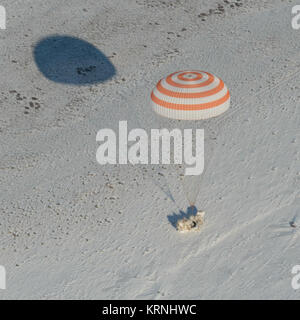 The Soyuz MS-05 spacecraft is seen as it lands with Expedition 53 Commander Randy Bresnik of NASA and Flight Engineers - Stock Photo