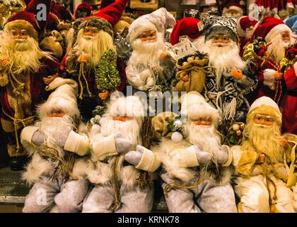 Berlin,Mitte,Alexanderplatz,Father Christmas,Santa Claus decorations in Galeria Kaufhof Department store at Xmas - Stock Photo