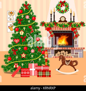 Christmas decorated room with christmas tree - Stock Photo
