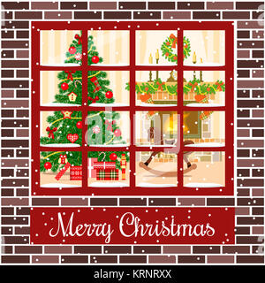 Christmas room through the window postcard - Stock Photo