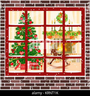 Christmas room with fireplace, furniture xmas tree - Stock Photo