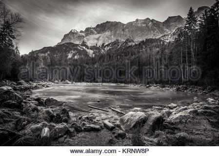 Black and white frozen lake - Stock Photo