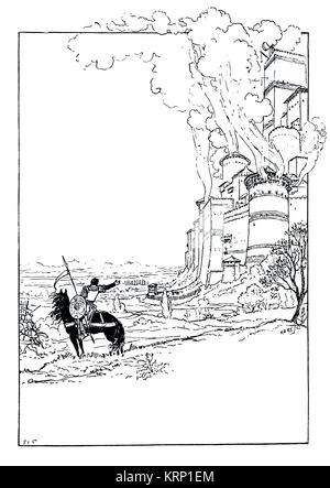 burning Chateau illustration from Quatre Fils Aymon by artist Eugene Grasset from 1894 The Studio Magazine - Stock Photo