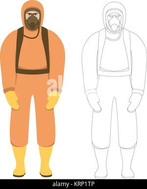 man  in  protective overalls vector illustration flat style   front view - Stock Photo