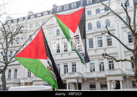 The protesters brought Palestinian flags calling for Free Palestine and a Boycott of Israel to the protest for Omar - Stock Photo