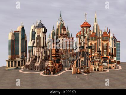 3D Rendering Futuristic City - Stock Photo