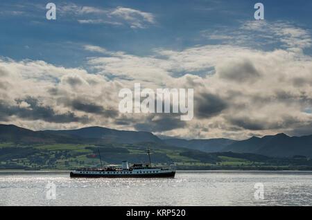 The Balmoral in the Menai Strait, between Beaumaris and Bangor, North Wales - Stock Photo