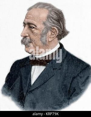 Theodor Fontane (1819-1898). German writer. Portrait. Engraving. Colored. - Stock Photo