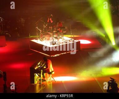 ANAHEIM, CA - FEBRUARY 15: Musicians/singers Tyler Joseph and Josh Dun of Twenty One Pilots perform onstage on Emotional - Stock Photo