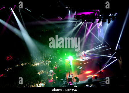 ANAHEIM, CA - FEBRUARY 15: Musicians/singers Tyler Joseph and Josh Dun of Twenty One Pilots perform onstage on Emotional - Stock Photo