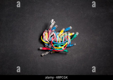 Colorful ethernet network cables - Stock Photo
