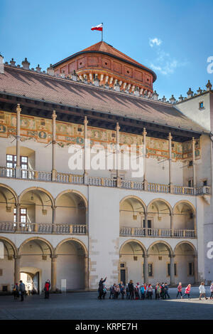 Krakow Wawel Hill, view of a section of the arcaded Renaissance courtyard at the centre of Wawel Royal Castle in Krakow, Poland.