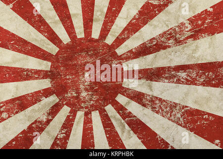 Background of old grunge vintage dirty faded shabby distressed Japan, Nippon flag or historical imperial army Rising - Stock Photo