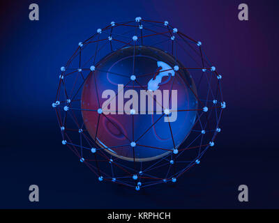 Abstract global network. 3D rendering - Stock Photo