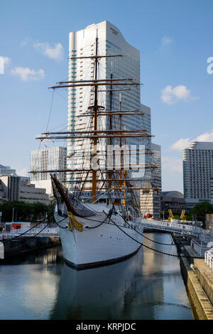 Yokohama - Japan, June 15, 2017: The Nippon Maru Sail Training Ship and Port Museum in Yokohama - Stock Photo