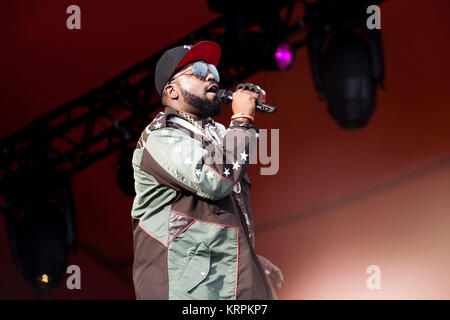 The American rap and hip-hop duo OutKast performs a live concert at the Orange Stage at Roskilde Festival 2014. - Stock Photo