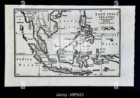 1830 Nathan Hale Map - East Indies - Singapore Malaysia Philippines Sumatra Java Borneo Celebes - Stock Photo
