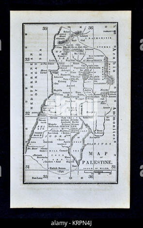 1830 Nathan Hale Map - Palestine - Jerusalem Dead Sea Israel - Stock Photo