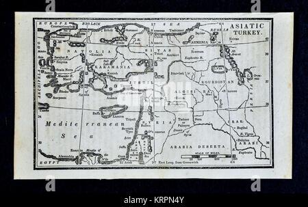 1830 Nathan Hale Map - Turkey Asia Minor - Middle East Palestine Iraq - Stock Photo