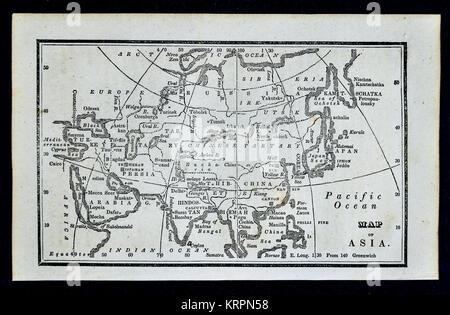 1830 Nathan Hale Map - Asia - Japan China Korea Arabia India Siberia - Stock Photo