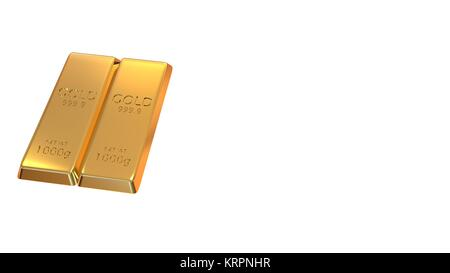 3d rendering set of gold bars isolated on white background - Stock Photo