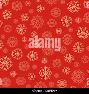 Gorgeous snowflakes background in golden and red - Stock Photo