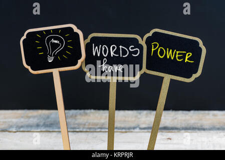 Concept message WORDS HAVE POWER and light bulb as symbol for idea - Stock Photo