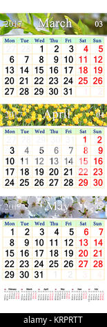 triple calendar for March April and May 2017 with images - Stock Photo