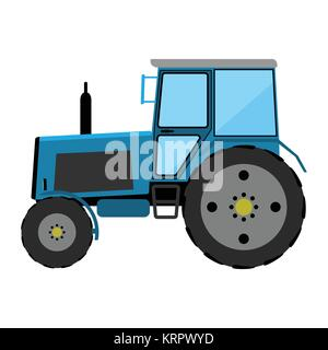 Blue wheeled tractor on a white background - Stock Photo