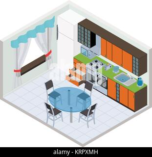 Vector isometric kitchen interior - 3D illustration - Stock Photo
