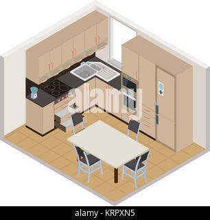 Vector isometric kitchen interior - 3D illustration - Stock Photo