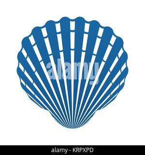 Scallop seashell of mollusks icon sign isolated vector illustration - Stock Photo