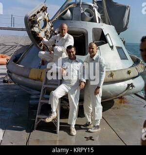 NASA Apollo 9 lunar orbital mission backup crew members American astronauts Charles Pete Conrad Jr. (left), Richard - Stock Photo