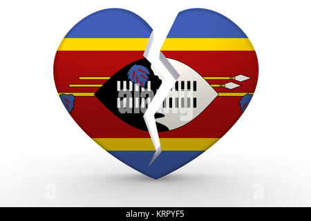 Broken white heart shape with Swaziland flag - Stock Photo